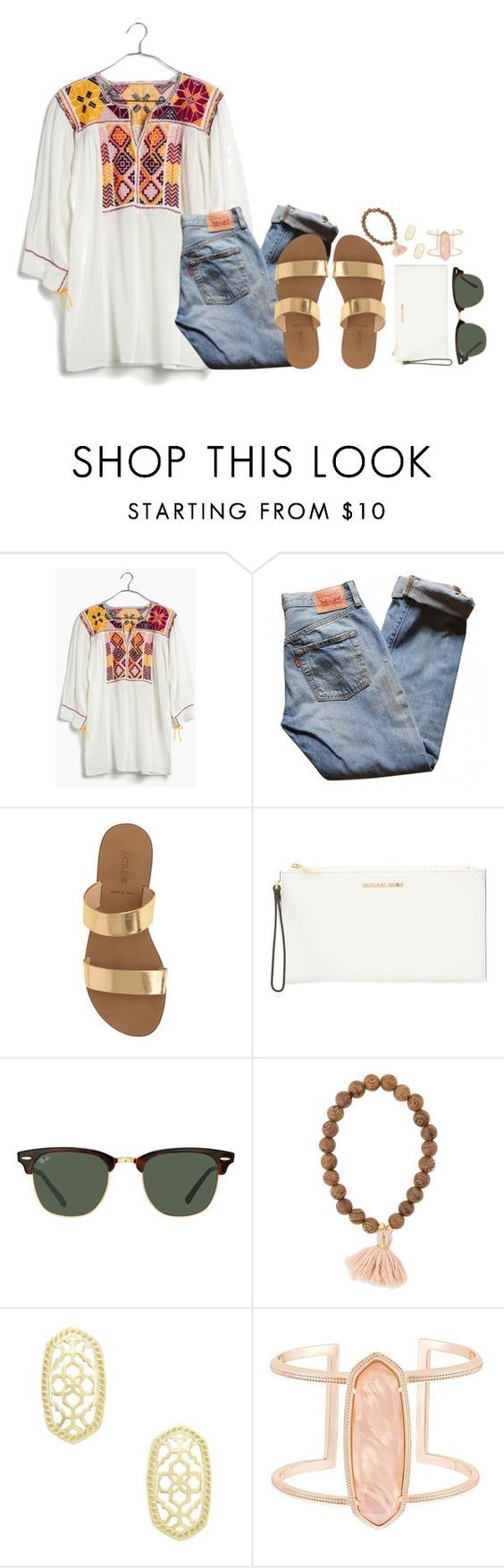 summer by thatprepsterlibby ❤ liked on Polyvore featuring Madewell, Levis, J.Crew, MICHAEL Michael Kors, Ray-Ban and Kendra Scott