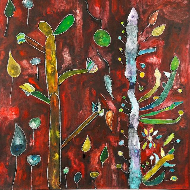 Obra: Ramas con hojas y ramas con frutos Artista: Matías Cid Expo Zoom al paisaje