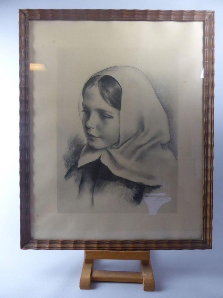 LOUIS BUISSERET BELLE LITHOGRAPHIE FILLETTE AU FOULARD PEINTRE BELGE 1888-1956   eBay