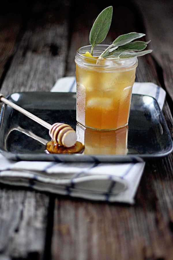 Favorite fall cocktail - The Hibernating Honey Bear -   bourbon with honey sage syrup from insockmonkeyslippers.com