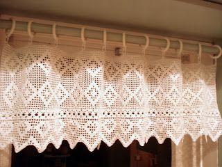 Crochet curtain for kitchen window