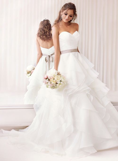 Wedding Dresses - $190.97 - A-Line/Princess Strapless Sweetheart Chapel Train Organza Wedding Dress With Sash Cascading Ruffles (0025060239)