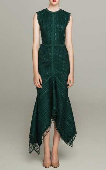Costarellos Guipure Lace Sleeveless Midi dress $1,695