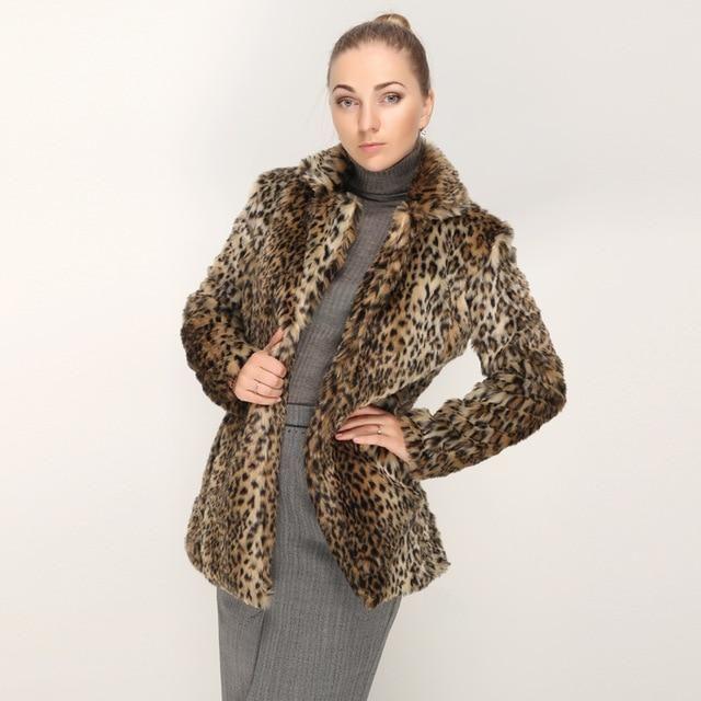 A Forever S-6Xl Plus Size Winter Women Custom Fur Coat Faux Fur Leopard Coats Warm Thick Outwear Coat Lady Aff731 Leopard 5XL 2