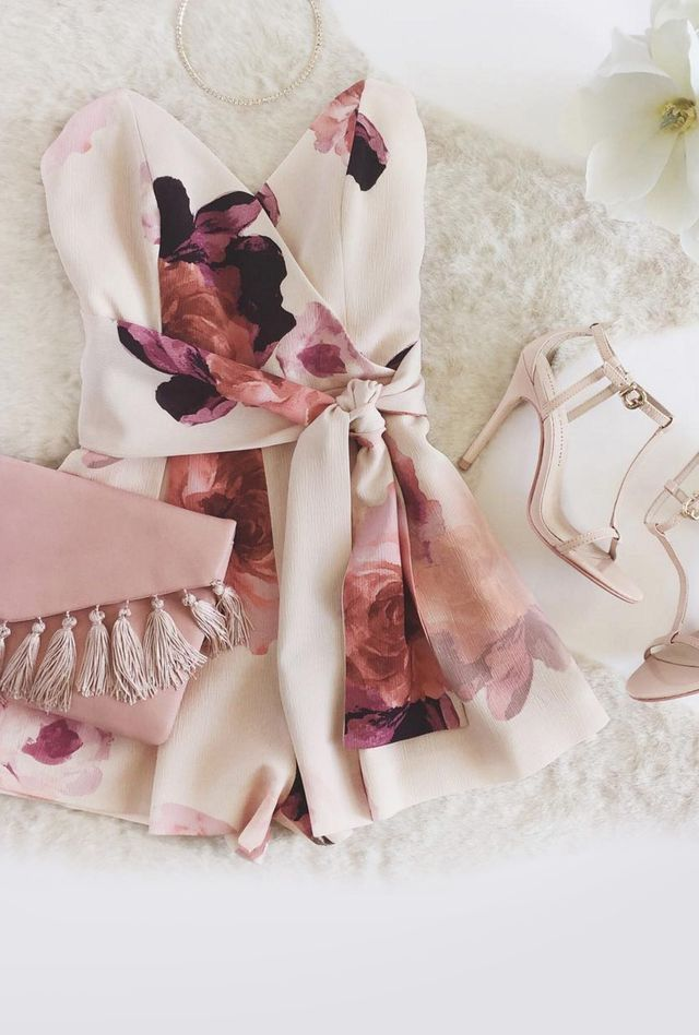 baby light pink floral strapless romper clutch strappy heels club clubbing dance dancing party night evening wear girly feminine summer