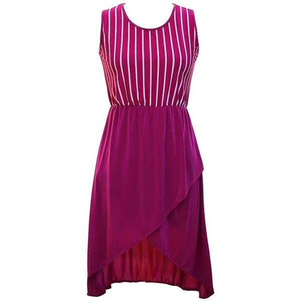 Magenta & White Vertical Stripe Sleeveless Dress With Tulip Hemline ($13) ❤ liked on Polyvore featuring dresses, magenta, sleeveless flare dress, white sleeveless dress, tulip dress, sleeveless dress and mullet dress