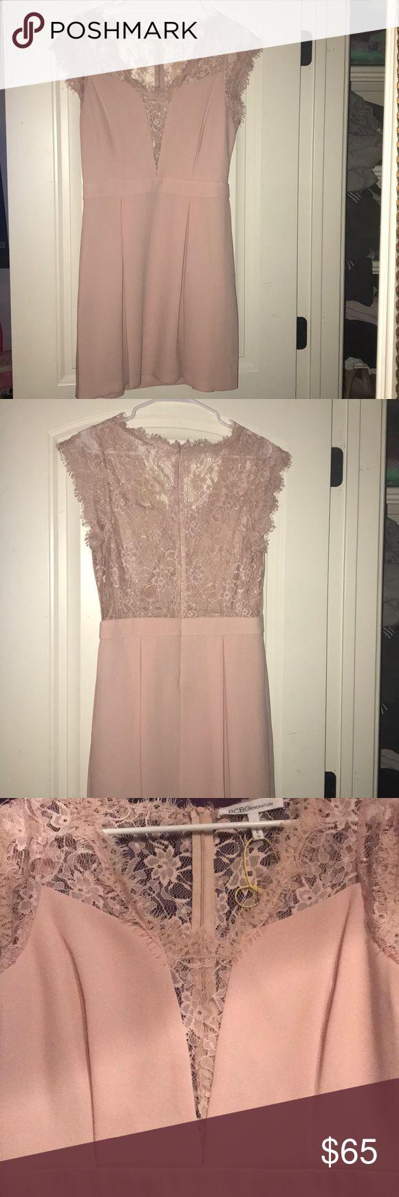 Blush and Lace BCBGeneration dress Classy but fun blush dress. It has a deep V with lace appliqués and a open lace back BCBGeneration Dresses