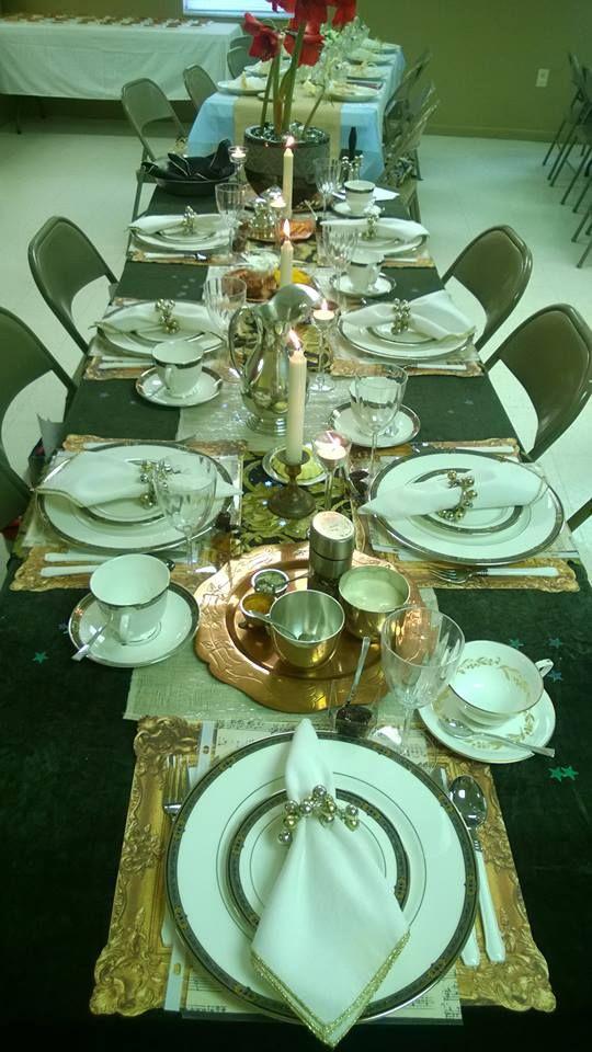 Deborah Bible theme table setting brown velvet metallic ...