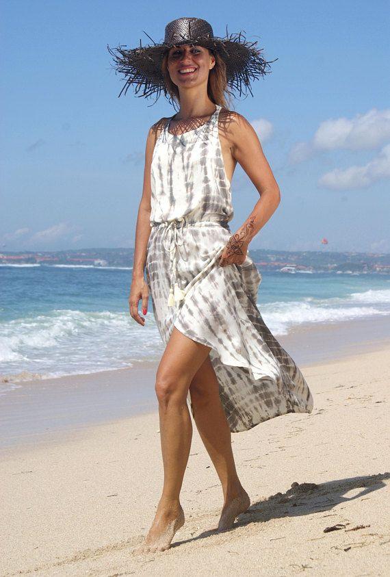 Summer Tail tie dye Dress/Tie dye long dress/Split tie dye dress/Bohemian tie dye dress/Beach wear * IGUACU TAIL DRESS