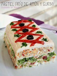 Pastel frío de atún y surimi - Facilísimo con pan de molde (lactal)