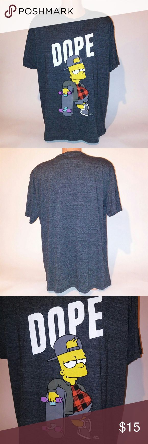 Simpson's Mens T-Shirt Mens T-Shirt - Size XL- Gray - Bart Simpson - Short Sleeve - New With Tags Simpsons Shirts Tees - Short Sleeve