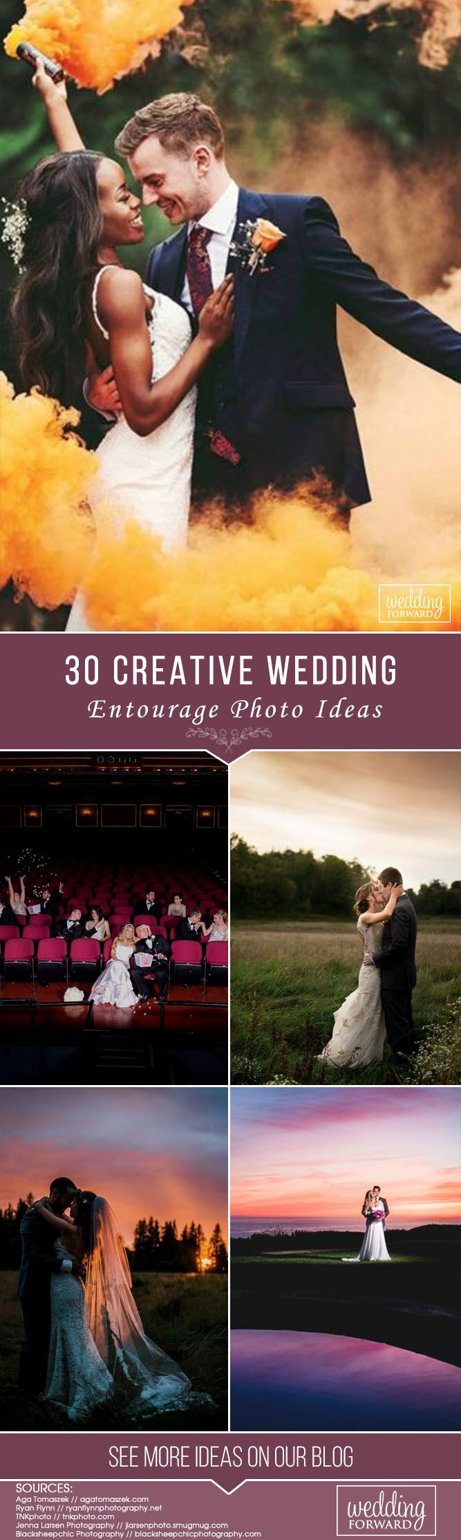 Weddings are always a fun way to bring together all the people that have shaped the lives of the newlyweds-to-be. Whether you're getting married soon or photographing a wedding pictorial yourself, you'll find fresh wedding entourage photo ideas in this collection.  #wedding #bride