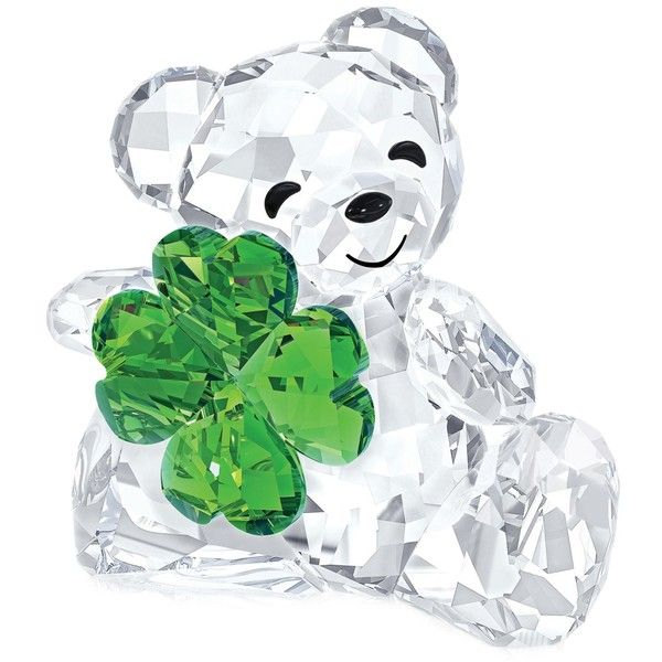 Swarovski Good Luck Kris Bear Figurine ($100) ❤ liked on Polyvore featuring home, home decor, no color, crystal glass figurines, bear figurines, bear home decor, swarovski figurines and crystal home decor