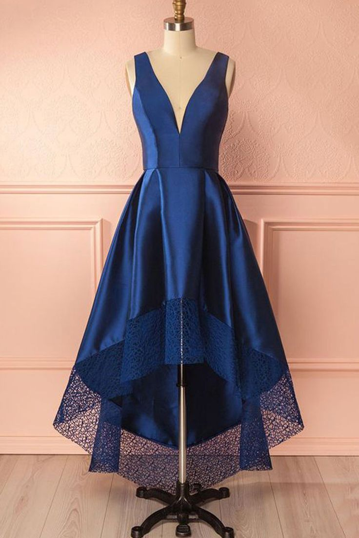 Cute blue satin fashion prom dress