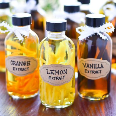 DIY Flavored Extracts.   Vanilla was easy and these are beautiful. Yes to this gift.