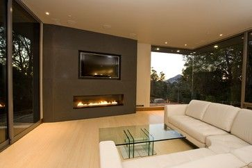 modern fireplaces with tv above - Google Search