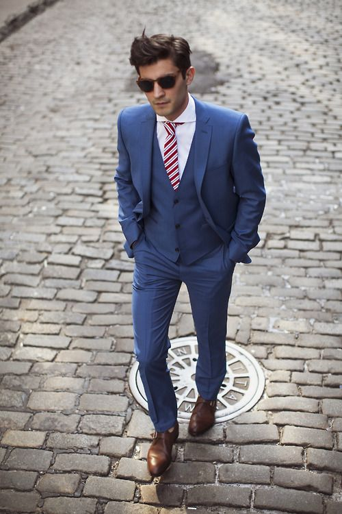 3 piece blue suit, white shirt stripe tie and brown leather monk straps