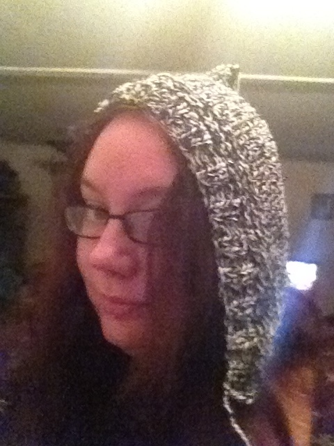 Black and white, knit, pixie hood