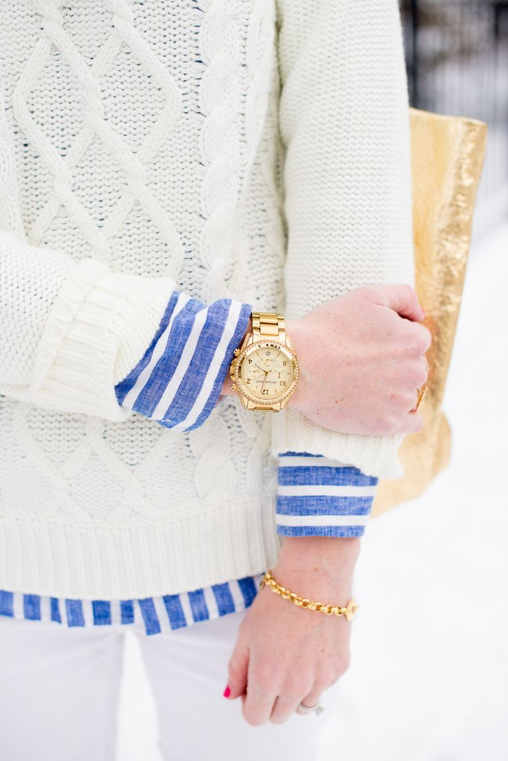 cable knit + nautical stripe