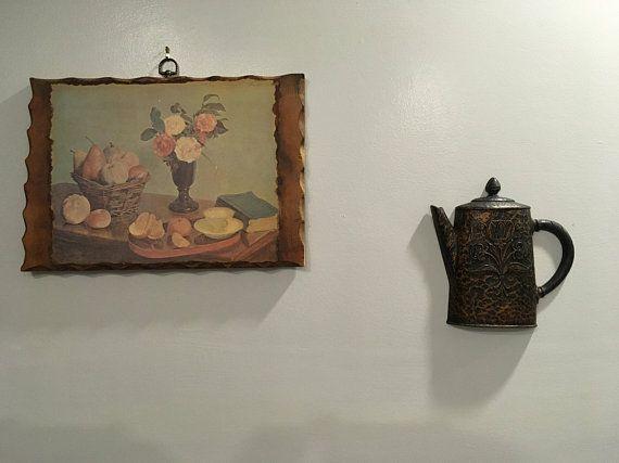 Vintage Retro Homco Teapot Distressed Black And Bronze Kitchen Wall Decor Kitchenwall Kitchen Wall Decor Rustic Kitchen Wall Decor Country Kitchen Wall Decor