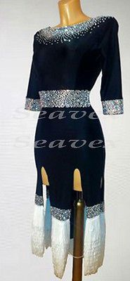 Cha Cha Latin Dance Dress US 8 UK 10 Black Velvet White Fringing Only One Size