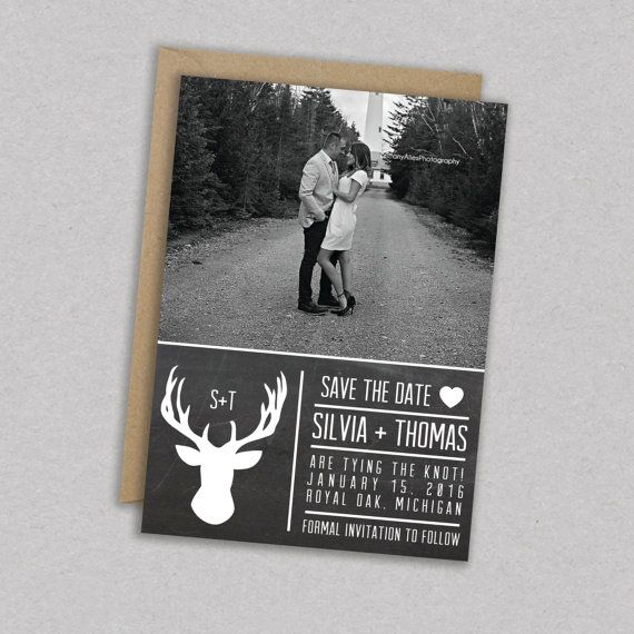 Print Sale // DIY Printable Wedding Save the Date Photo: Picture - Rustic - Deer - Antler - Woodland - Modern - Hipster - The Silvia