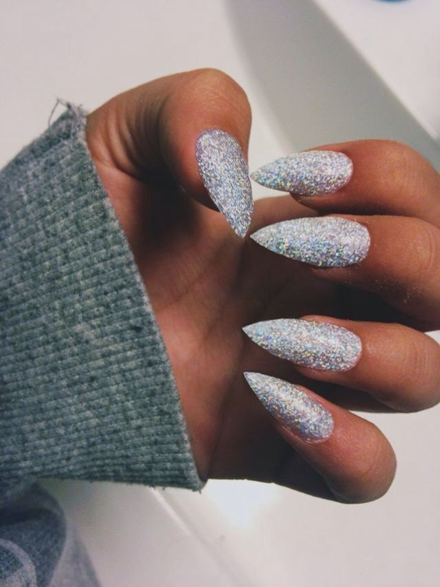 The 25 best prom nails ideas on pinterest nude nails coffin i cant decided if holographic glitter stiletto nails is tacky or really cool prinsesfo Gallery