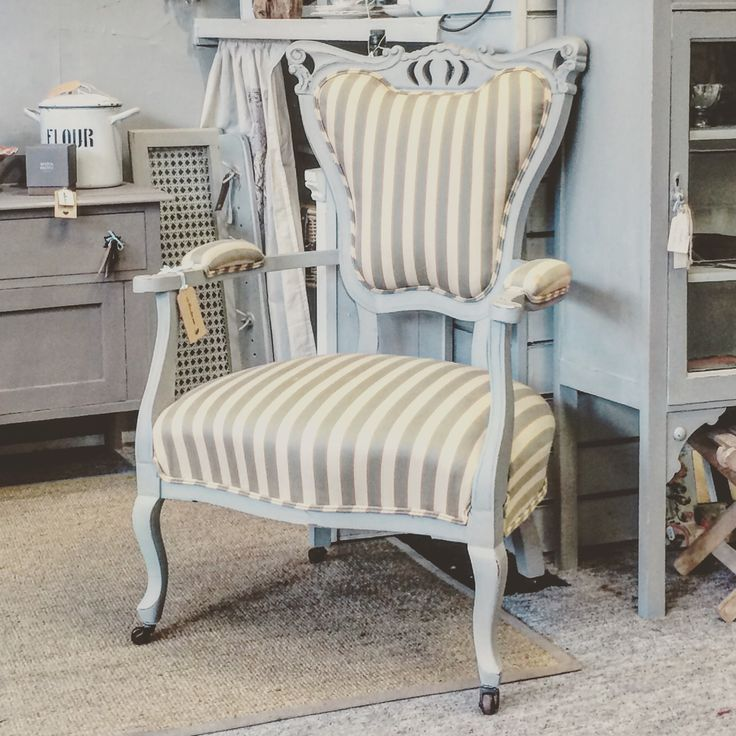 x Sold x A beautiful chair painted with Paris Grey but keeping the original fabric.  x