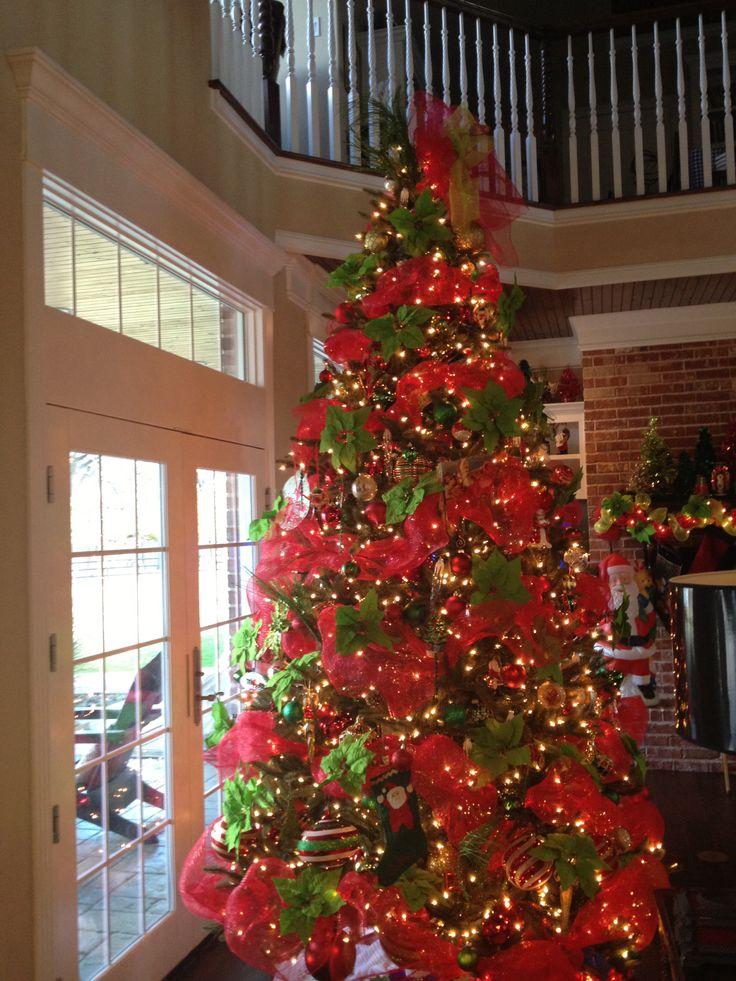 Deco Mesh Ribbon On Christmas Tree