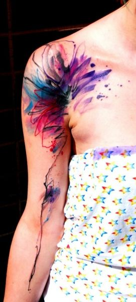 watercolor tattoo idea love the colours and placement