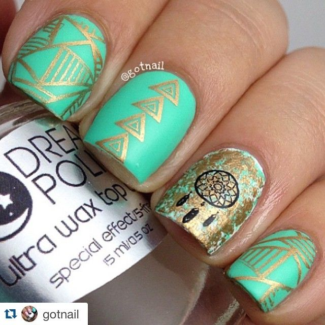"""""""#Repost @gotnail with @repostapp. ・・・ I had to do these! Inspired by @jackie18g Base is FF Bizerk Turq, white is @justricarda white out, bronze and black are both @mundodeunas and plate is BM605 from @bundlemonster Mattified with only the best matte top coat out there @mydreampolish Ultra Wax Top Coat!"""" Photo taken by @alexandravicunaperry on Instagram, pinned via the InstaPin iOS App! http://www.instapinapp.com (06/18/2015)"""