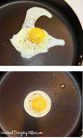 I don't know about you….but THIS drives me crazy! And it seems no matter what I do, this is what happens when I try to FRY eggs. A bit of a problem when you are a fried eggs family (and OK…I might be slightly OCD). Once in awhile we do scrambled…but for the most part …