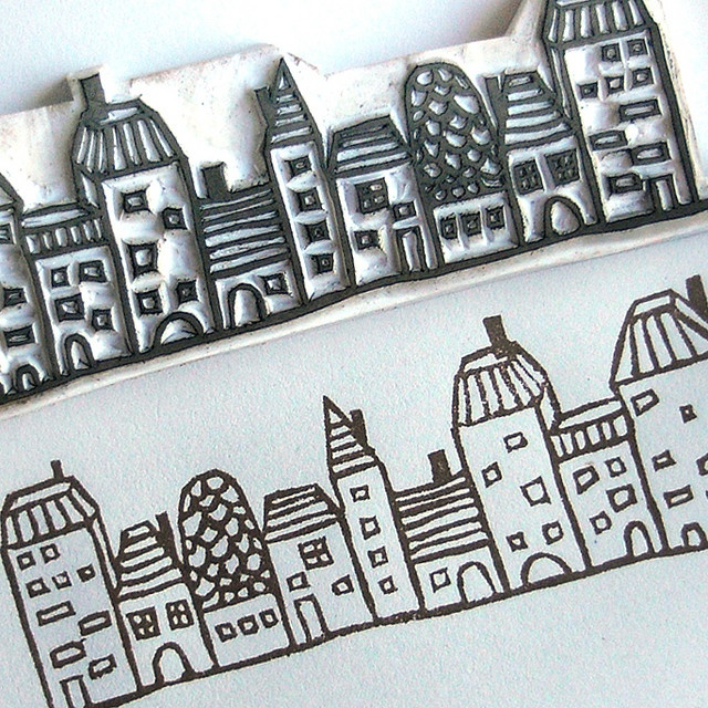 Hand-carved village stamp by Le Petit Pig (Janet Chan) via Flickr