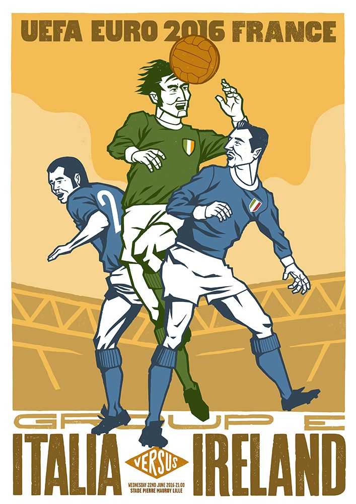 Illustration for Póg Mo Goal as part of a series of match-day posters for the Republic of Ireland's three group games in France.