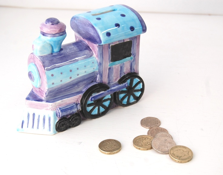 24 best images about piggy banks on pinterest thomas the train calico cats and ceramics - Train piggy banks ...