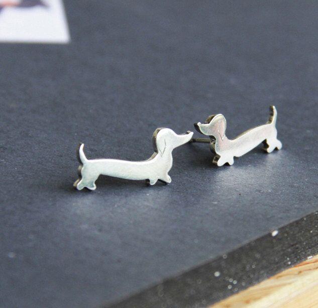 Dachshund Earrings Doxie Studs Wiener Dog Jewelry Daschund Studs Sausauge Dog Love by LolaAndCash on Etsy https://www.etsy.com/listing/129636270/dachshund-earrings-doxie-studs-wiener