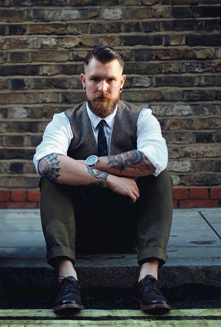 smaller red beard and mustache beards bearded man men mens' style dressy dapper suit tie tattoos tattooed hair hairstyle ginger #sharpdressedman #goodhair