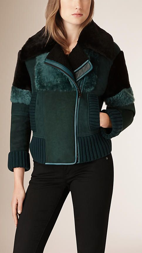 Teal Sueded Shearling Aviator Jacket - Image 2