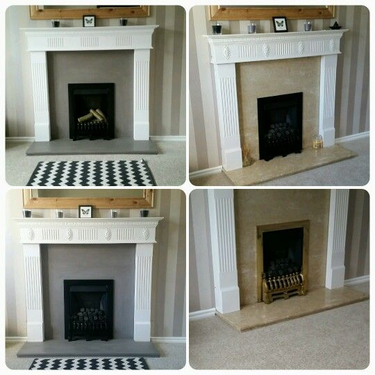 Cheap and easy upgrade for a disconnected fireplace - from 80s yellow marble to beautiful scandi style fire place - painted with Annie sloan french linen and waxed, brass spray painted matt black and logs added
