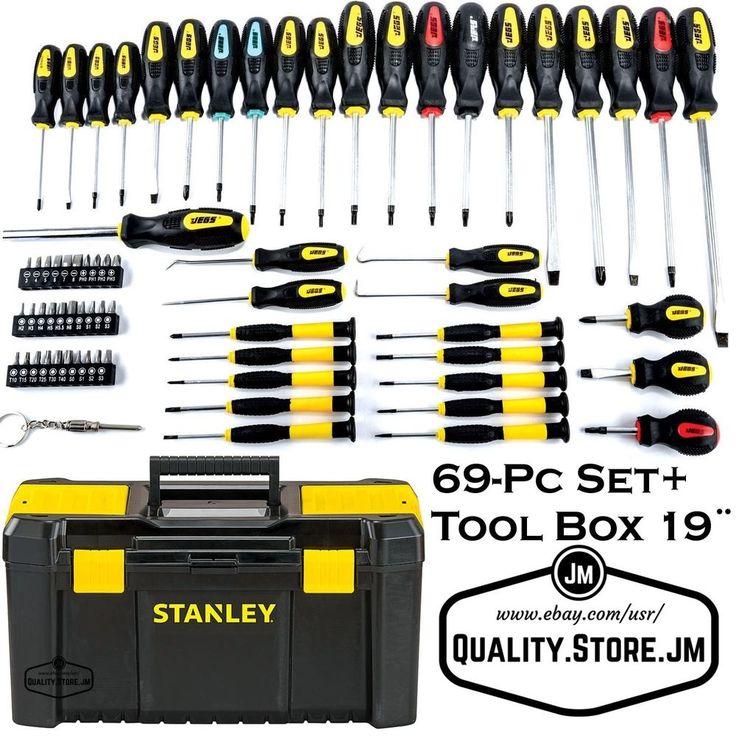 Stanley Tool Box 19 Screwdriver Set Torx Phillips Repair Kit Bit Piece 69 Pc New #JegsStanley