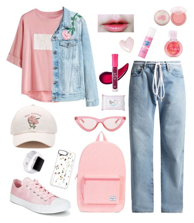 """Korean style"" by elsa-meiliana on Polyvore featuring Off-White, Converse, Herschel, H&M, Vans, Le Specs, Apple, Casetify and Etude House"