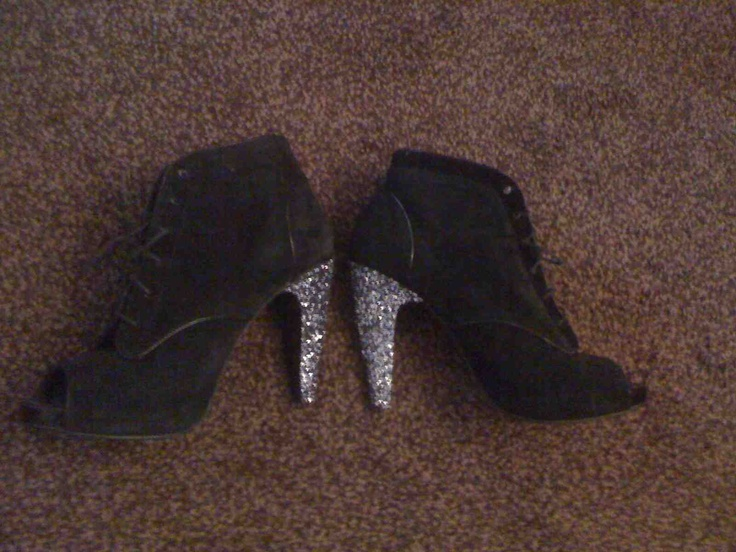 """""""The heels on my favourite shoes were badly scuffed and marked and looked really shabby. I didn't want to throw them out, so I covered the heel in some glittery fabric. They look amazing now and I've received so many compliments on them. It only cost me around 5 pounds to spruce them up too!"""""""
