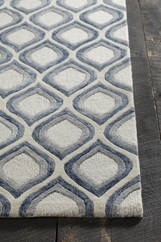 Clara Collection Hand Tufted Area Rug In White Grey Blue In 2021 Rugs Grey Decor Area Rugs