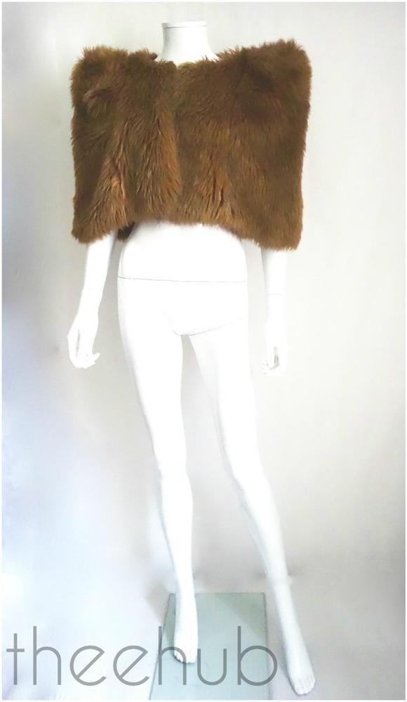 Vtg 1970s Biba Fabulous Foxy Faux Fur Glam 40s Red Carpet Capelet Stole Coat