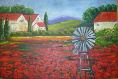 Art Painting, Acrylic, Landscape, Poppies, Poppy Farm
