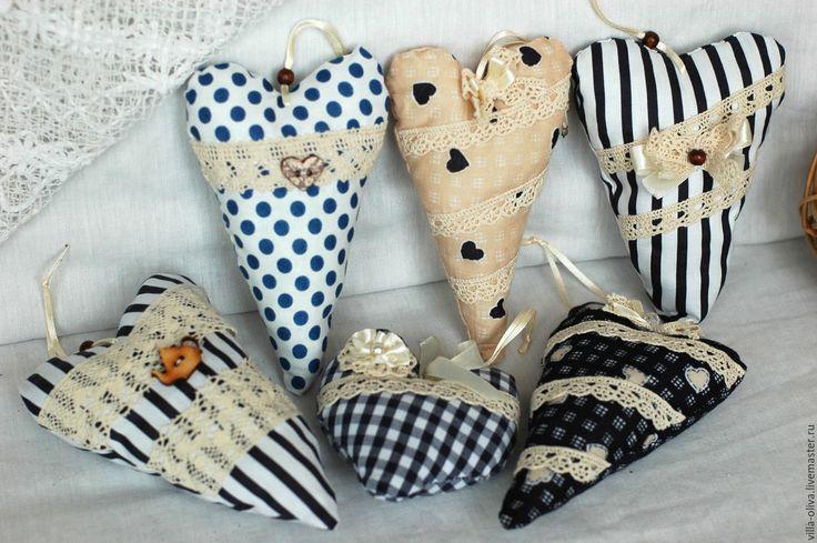 Купить Сердечки кофейные, сердечки - валентинки, мятные сердечки - тёмно-синий, белый, синий, горошек