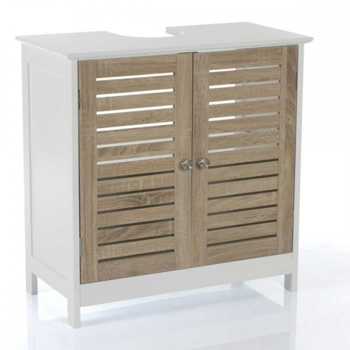 MEUBLE VASQUE - PLAN Meuble sous lavabo 2 portes et 1 étagère intérieure, H60 x P30 x L60 cm
