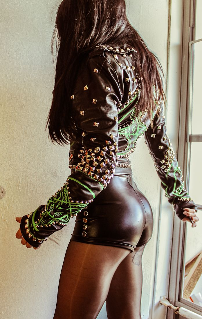 Not sure about the booty shorts, but that jacket is pretty amazing. Toxic Vision Clothing Co.