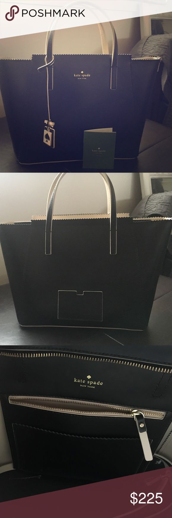 Kate Spade black and cream shoulder bag Barely used (maybe 3 times) Kate Spade black and cream shoulder bag with scalloped edges on the top. No scratches or marks. Comes with long shoulder strap but the dust bag was misplaced in our move. Excellent condition. Price is firm. kate spade Bags Shoulder Bags