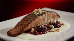 Pan Seared Salmon with Roasted Beetroot and Freekeh Salad